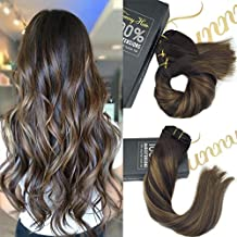 Sunny Clip in Hair Extensions Remy Human Hair 14inch 9pcs 140g Full Head Darkest Brown Mixed Medium Brown Balayage Dip-Dye Color Real Hair Extension