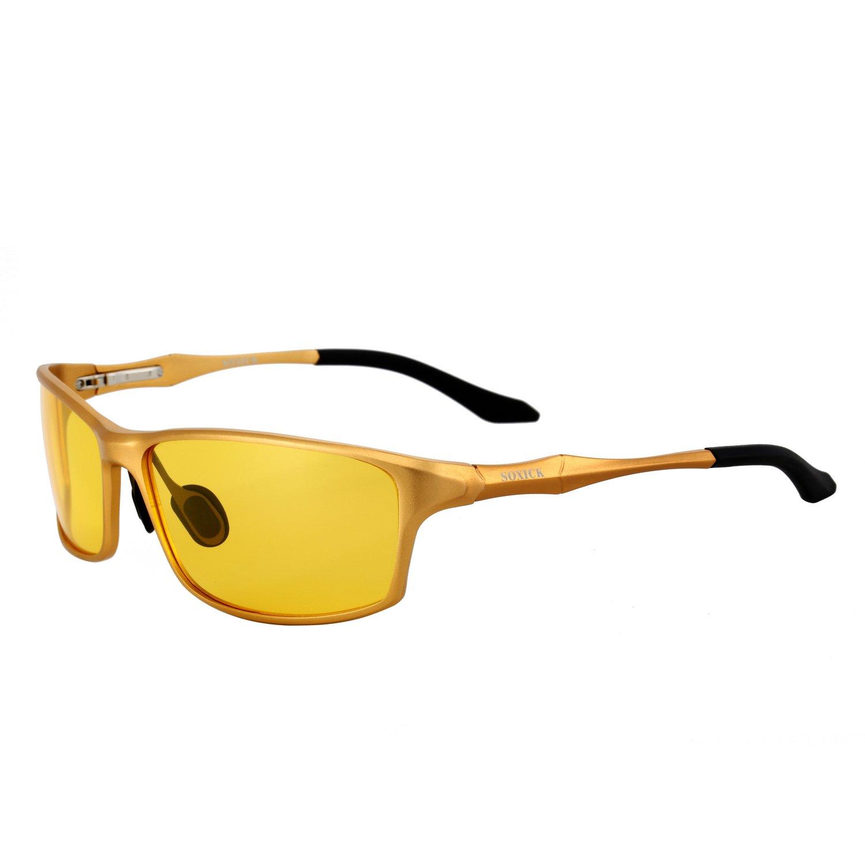 SOXICK HD Night Vision Driving Anti-Glare Glasses for Men Women Rainy Safe Polarized Fashion Sunglasses (Night vision glasses Glod)