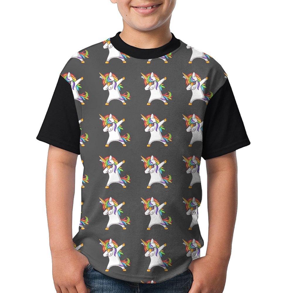 Dabbing Colorful Unicorn Boy Girl Summer Shirts 3D Printed Tee Black Tops X-Large