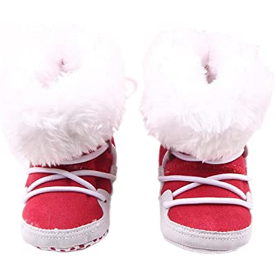 Bettyhome Unisex Baby Cotton Cloth Soft Sole Infant Toddler Prewalker First Walker in Tube Snow Boots (0-1t)