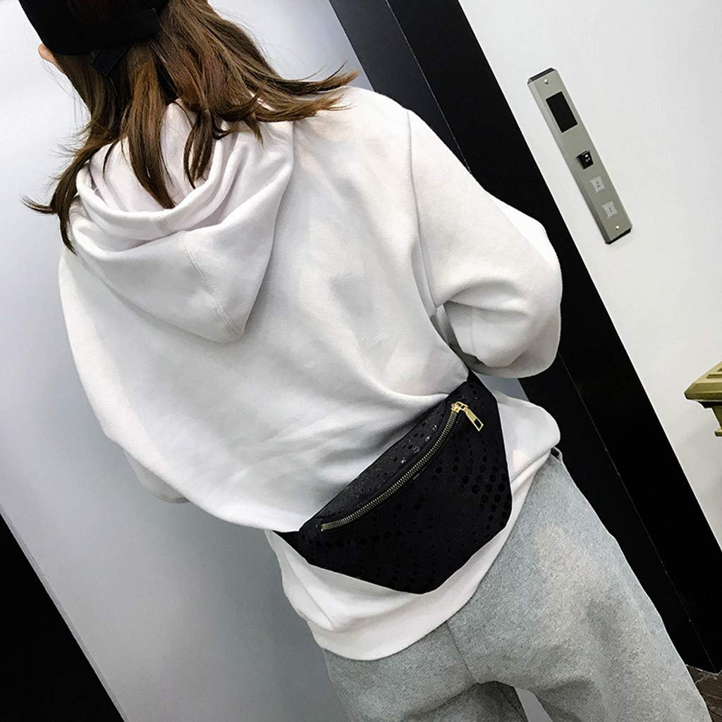 Fashion Women Outdoor Zipper Sequin Laser Messenger Bag Chest Bag Waist Bag