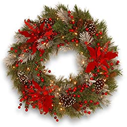National Tree 24 Inch Decorative Collection Tartan Plaid Wreath with Cones, Red Berries and Poinsettias (DC13-147-24WB-1)