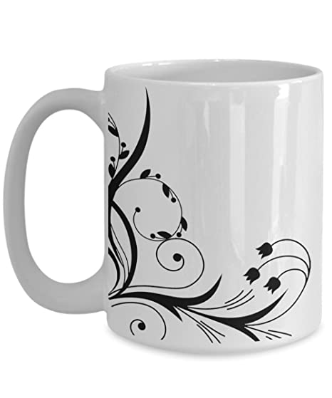 amazon com abstract flower mug floral black silhouette lover