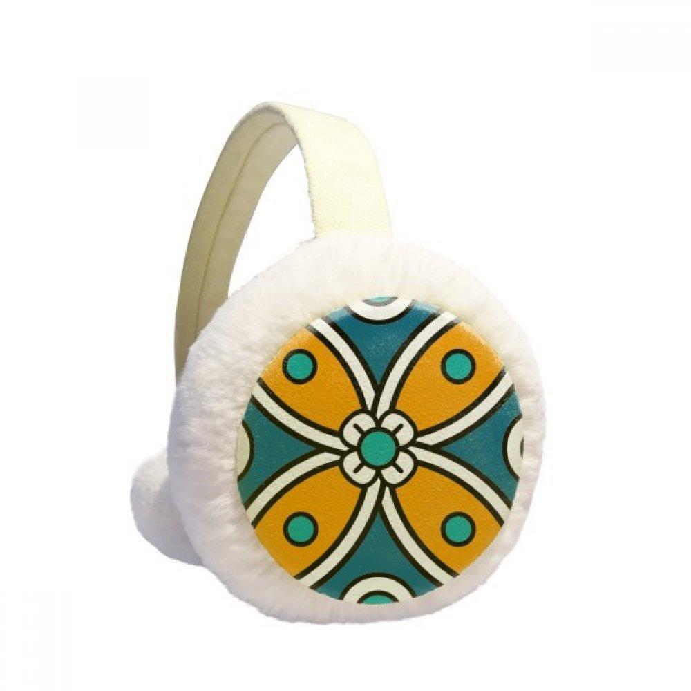 Abstract Flower Morocco Style Pattern Winter Earmuffs Ear Warmers Faux Fur Foldable Plush Outdoor Gift