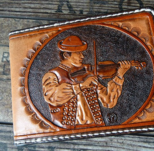 Men's 3D Genuine Leather Wallet, Hand-Carved, Hand-Painted, Leather Carving, Custom wallet, Personalized wallet, Accordionist, Accordion, Your Initials by Theodoros