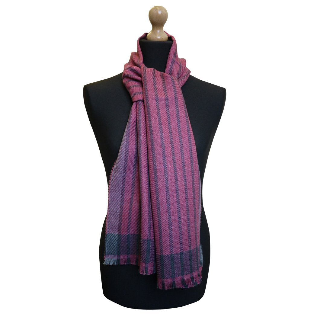 MA.AL.BI. Maalbi Luxury Italian Virgin Wool Fine Stripe Scarf (Pink)