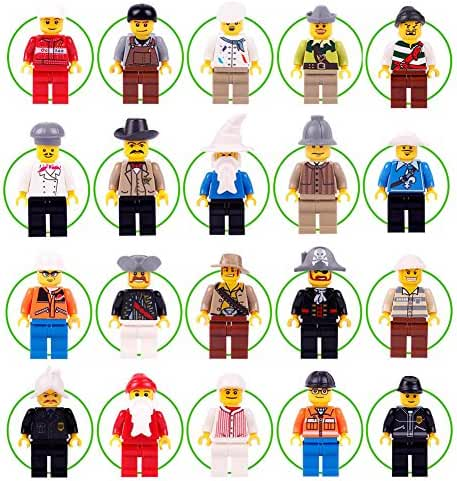 20+2 Minifigures Building Bricks Community People with Interchangeable Hats for Preschool-Sized Building Sets 100% Compatible