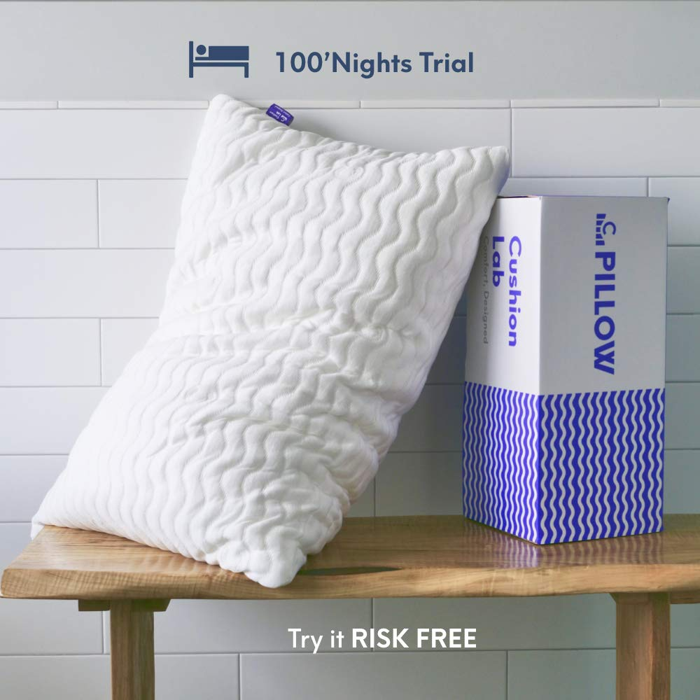 Cushion Lab Extra Support Adjustable Shredded Memory Foam Pillow for Back, Stomach, Side Sleeper - Sleep Comfort & Neck Support Bamboo Pillow, Oeko-Tex Hypoallergenic Cover, CertiPUR US, Standard Size