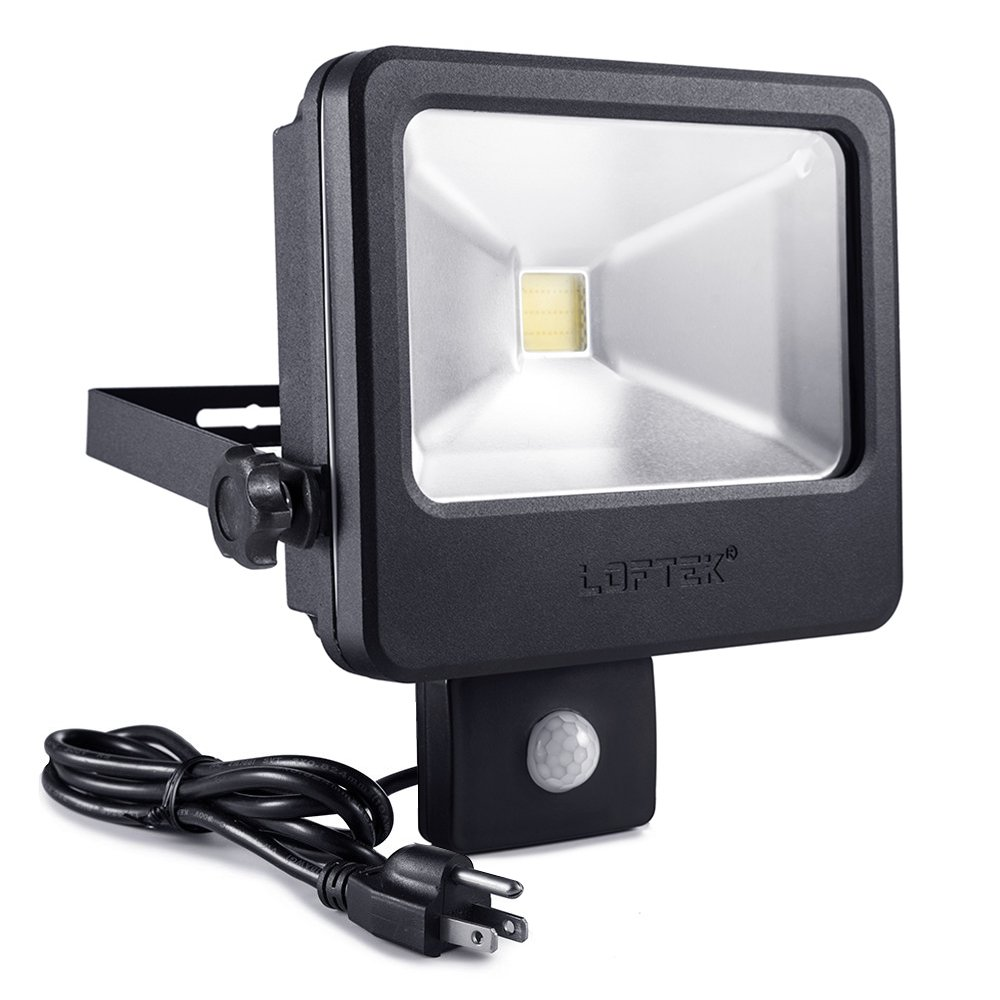 LOFTEK Motion Sensor LED Flood Light, 30W 2400lm Security Lights, Water and Dust Protection Wall Light for Garage Patio Garden Path – Daylight, Black