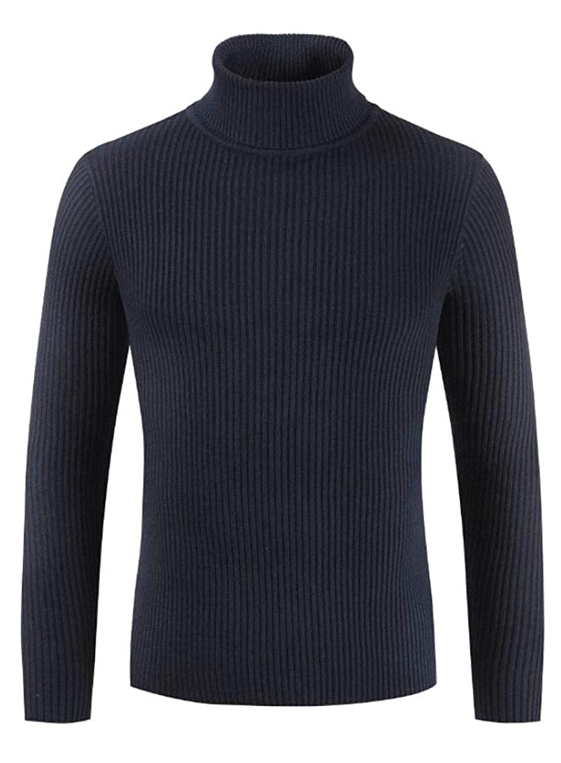Gocgt Men Slim Fit Knitted Pullover Turtleneck Sweater