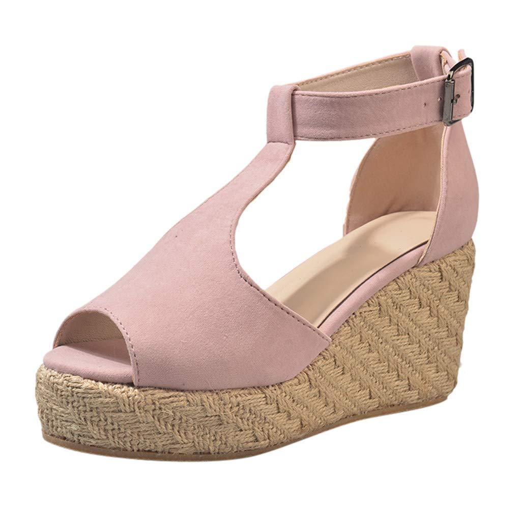 2019 Summer New Women's High Heel Platform Sandals Fish Mouth Wedge Shoes Bohemia T-Bar Sandals Pink