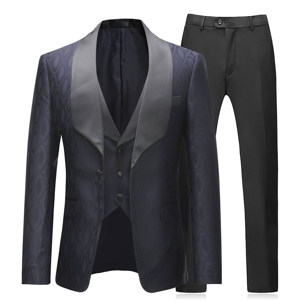 Men Suits 3 Piece Slim Fit Wedding Formal Business Dress Black Tuxedo Shawl Lapel Blazers Jacket Waistcoat Trousers