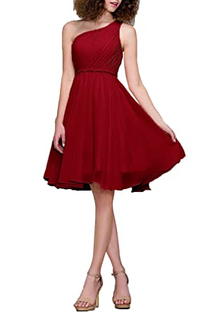 99Gown Bridesmaid Dresses Short Cocktail Dress One Shoulder Prom Formal Dresses For Women, Color Burgundy