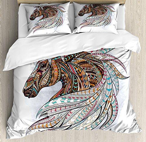Lunarable Horse Queen Size Duvet Cover Set, African Indigenous Totem Animal Theme Modern Art with Colorful Tribal Arrow Motifs, Decorative 3 Piece Bedding Set with 2 Pillow Shams, Multicolor