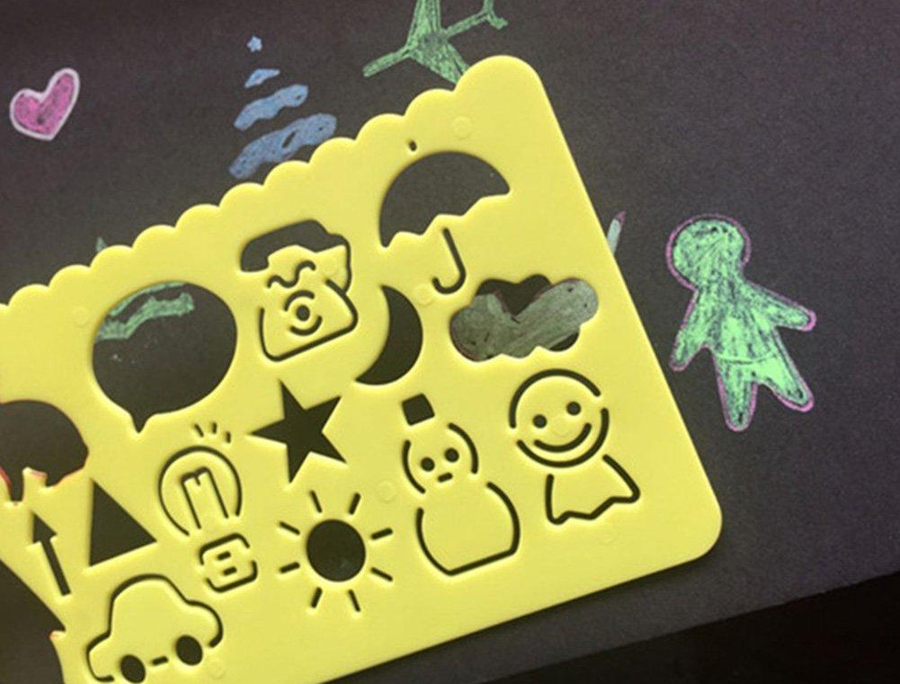 motivo Ruler Graphics regola forniture scolastiche modello di disegno per Giornale DIY ideale regalo per bambino 4/motivi hosaire 4pcs regola Stencil in plastica kawaii