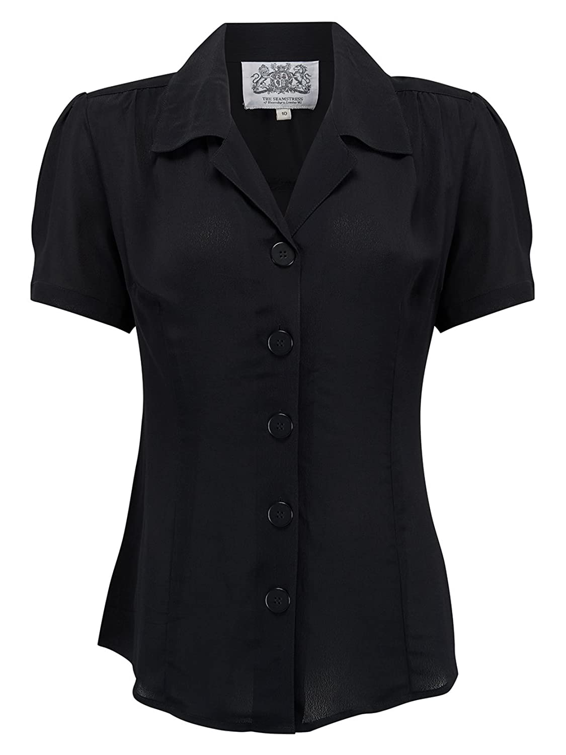 cfc54305 1940s Blouses and Tops 1940s Vintage Grace Blouse in Black by The  Seamstress of Bloomsbury