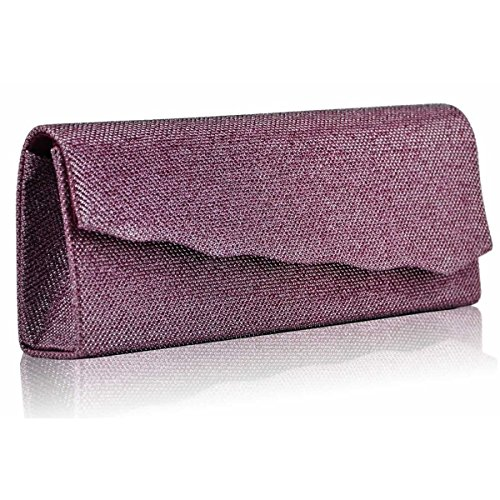 Xardi London glitter ondulate donne pochette da sera da donna da sposa designer Prom Ball party UK Pink