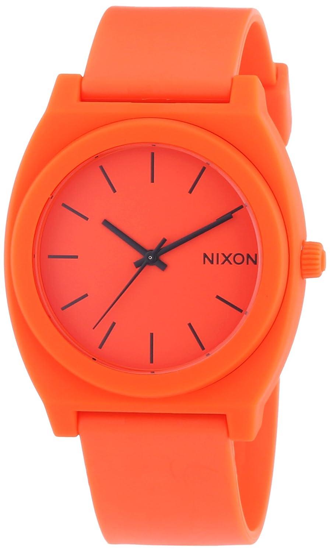TALLA One Size. Nixon A1191156-00 - Reloj analógico de cuarzo unisex con correa de caucho, color naranja