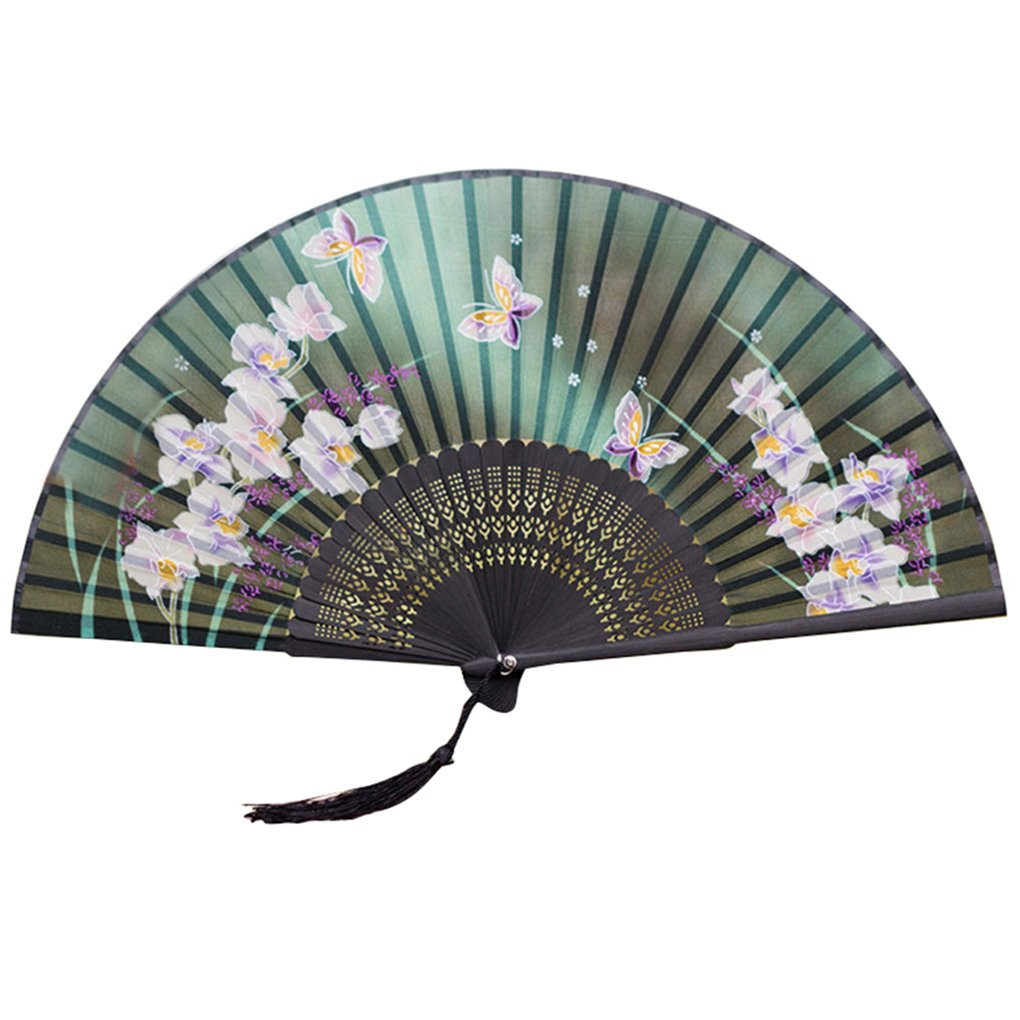 Gemini_mall® Pink Butterfly Pink Flowers Pattern Lace Bamboo Handheld Folding Fans for Girls Women (Green)
