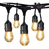 Jslinter Commercial Outdoor String Lights 48 Ft Pro Grade Waterproof Hanging Light with Weatherproof S14 LED Edison Bulbs, Create Party Vintage Ambience for Your Patio, Backyard, Porch, Yard, Bistro