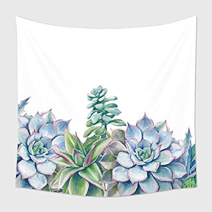 Amazon Com Home Decor Tapestry Wall Hanging Watercolor Succulents