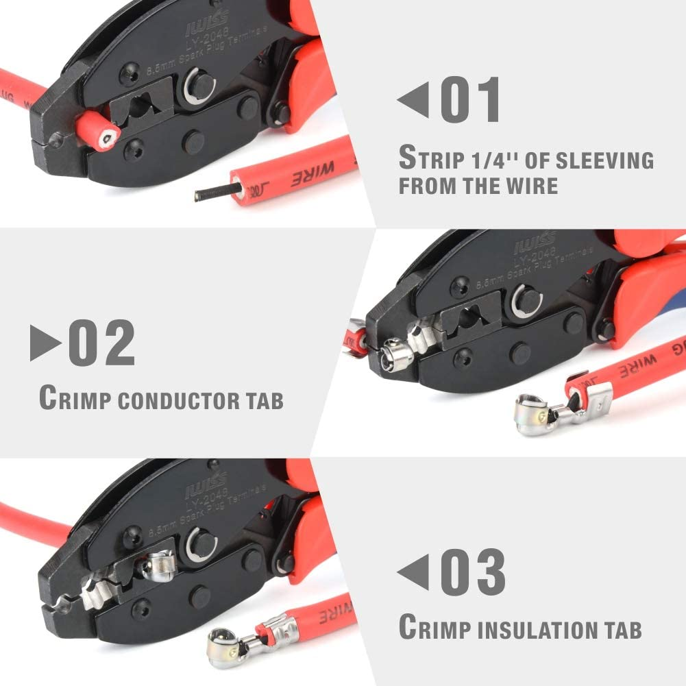 IWISS Ratchet Spark Plug Wire Crimper for Spark Plug Ignition Wire and Terminals Dia. 8.5mm: Automotive