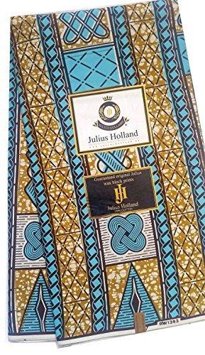 Blue Wax Block - Julius Holland - Wax block - African Fabric Aqua Blue and Brown (2 Yards)