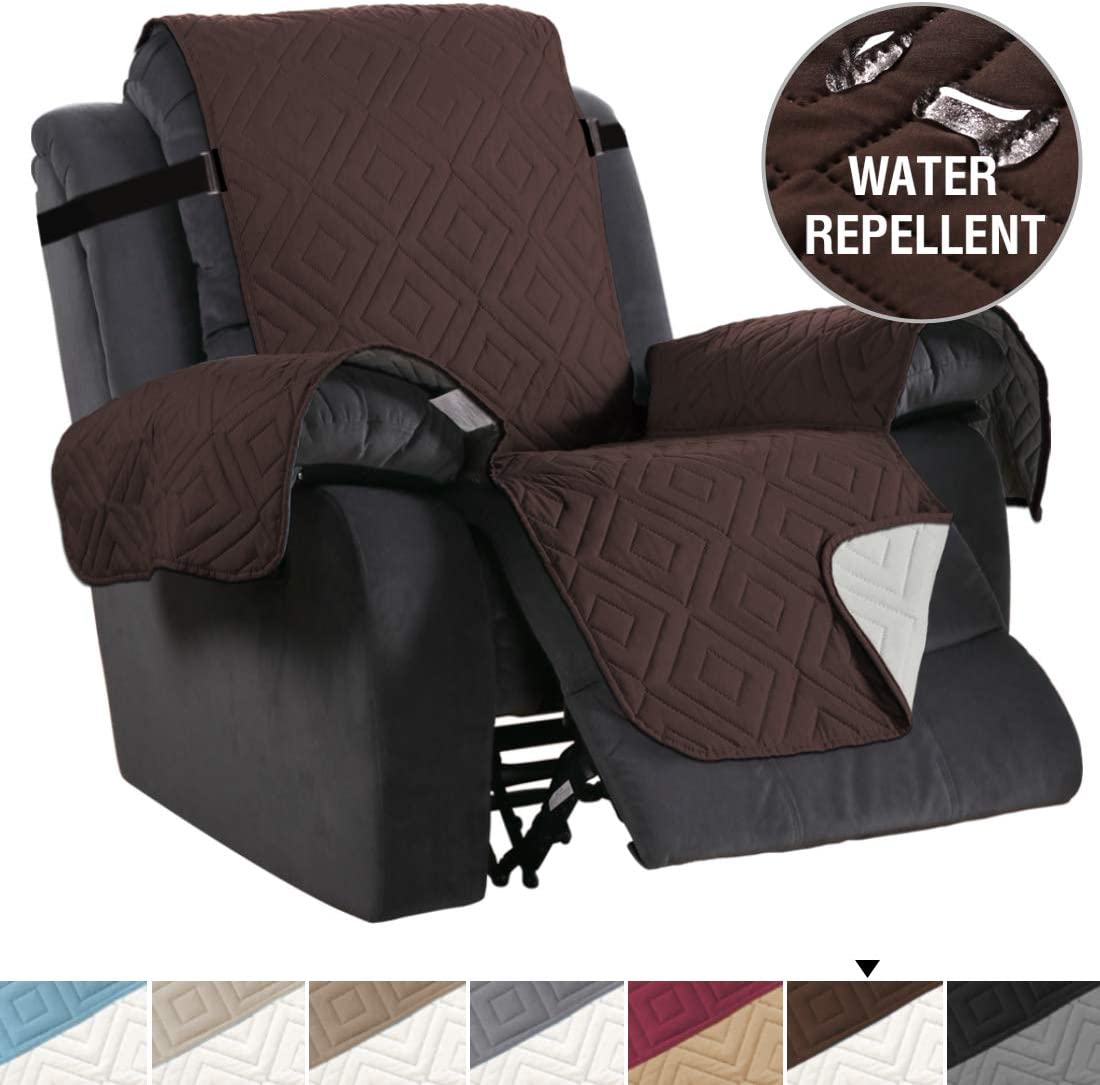 """Recliner Cover Reversible Sofa Slipcover Furniture Protector Water Resistant 2 Inch Wide Elastic Straps Recliner Chair Cover Pets Fit Sitting Width Up to 30"""" (Oversized Recliner, Brown/Beige)"""