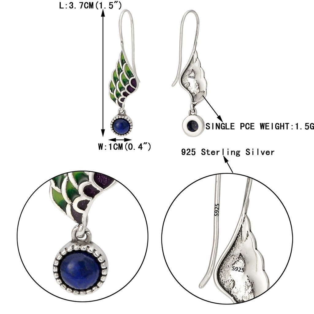 EVER FAITH® Women's 925 Sterling Silver Multicolor Enamel Lapis Lazuli Angel Wing Daily Hook Drop Earrings