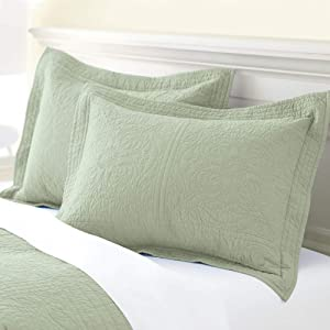 vctops 100% Cotton 2-Piece Quilted Pillow Shams Standard Size Floral Printed Decorative Pillow Covers Dou Green