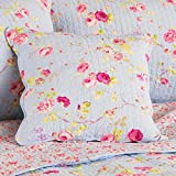 Paoletti Honeypot Lane Floral Woven Cotton Quilted Cushion Cover, Blue, 45 x 45 Cm