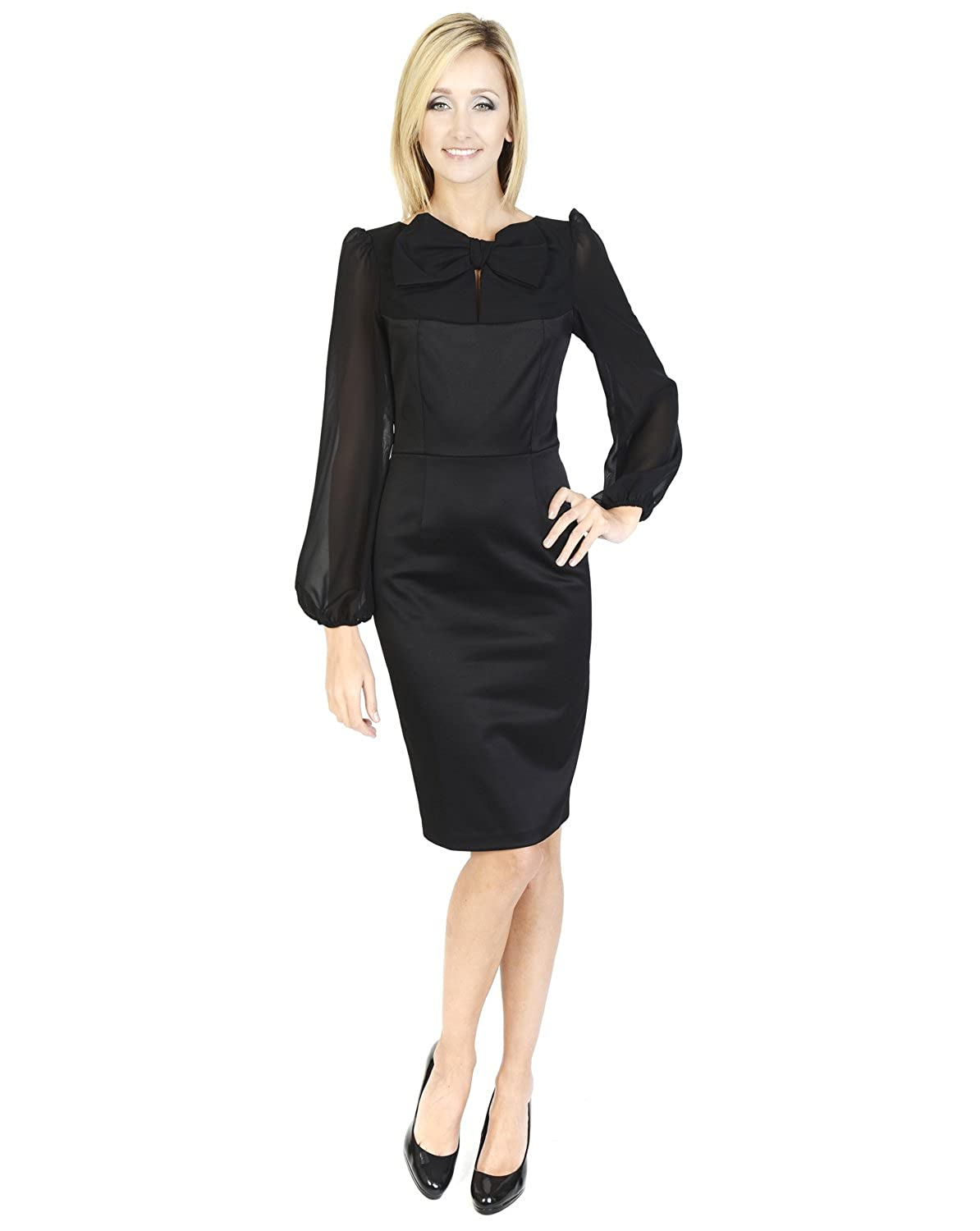 Hunters & Gatherers Midi Long sleeve little black dress Scoop neckline Party, cocktail Bow Front Black Dress