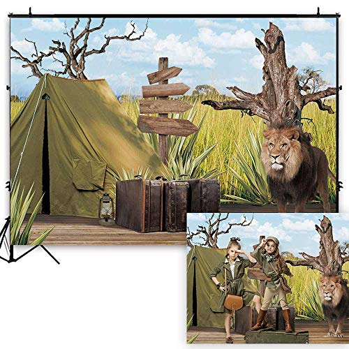 Funnytree 7x5ft Durable Fabric African Safari Adventure Photography Backdrop No Wrinkles Wild Lion Jungle Forest Background Summer Tropical Baby Shower Birthday Portrait Party Decoration Photo Studio]()