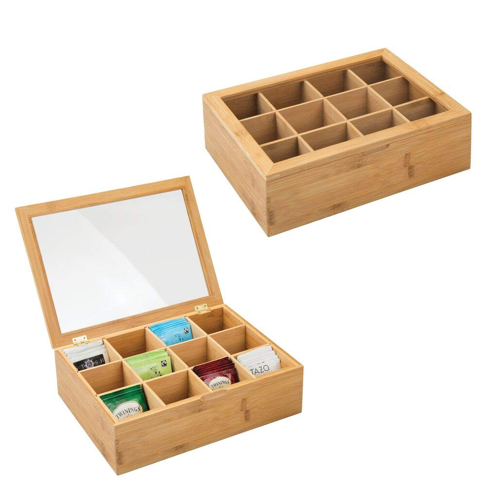 mDesign Bamboo Tea Storage Organizer Box - 12 Divided Sections, Hinged Lid with Easy View Clear Window Top - Decorative Holder for Tea Bags, Packets - 2 Pack - Natural Bamboo/Clear by mDesign