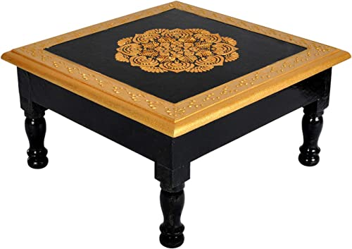 Lalhaveli Home Decorative Square Shape Hand Painted Black Wooden Altar Low Height Table