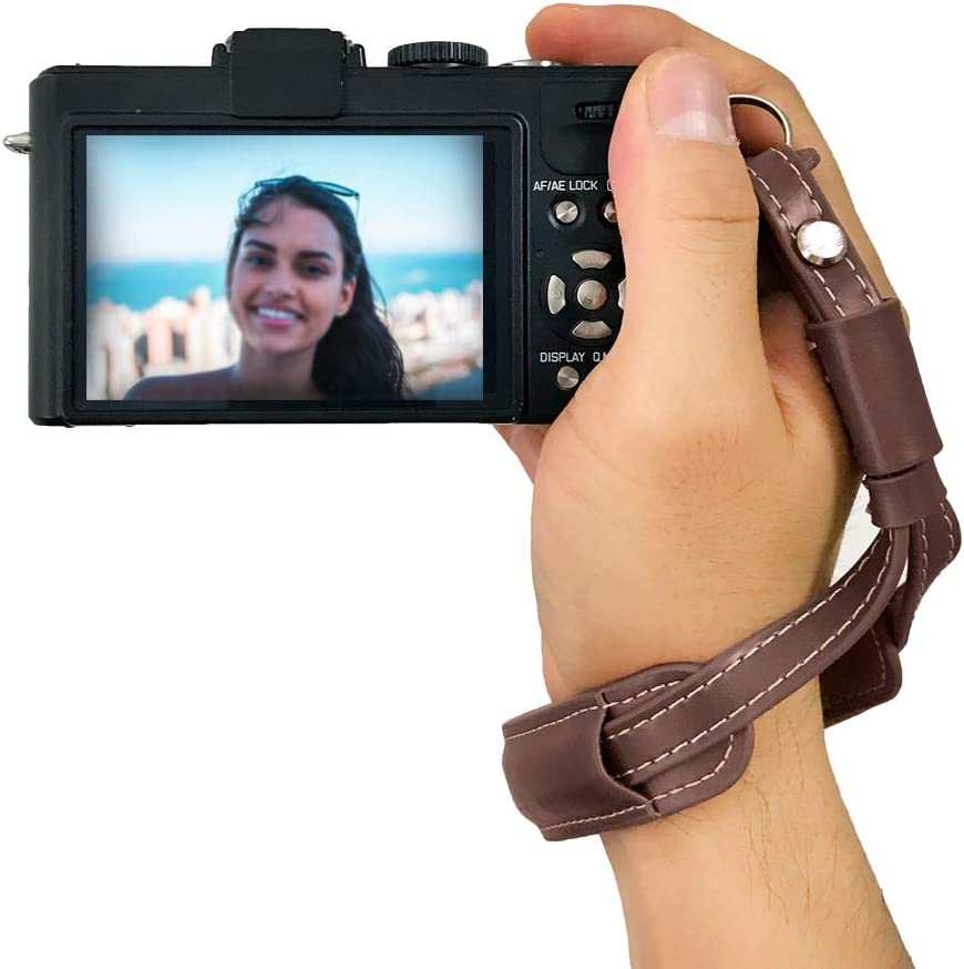 Black Camera Wrist Strap Vintage Leather Hand Wriststrap for Mirrorless Camera