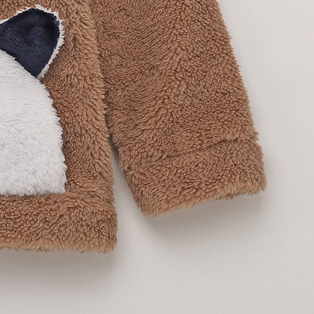 Toddler Baby Girl 3D Bear Winter Fleece Warm Hoodie Tops with Kangaroo Pocket Hooded Sweater