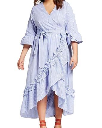 Fieerwomen Cut Out Ruffled Plus Size Irregular Sexy Mid Length Dress