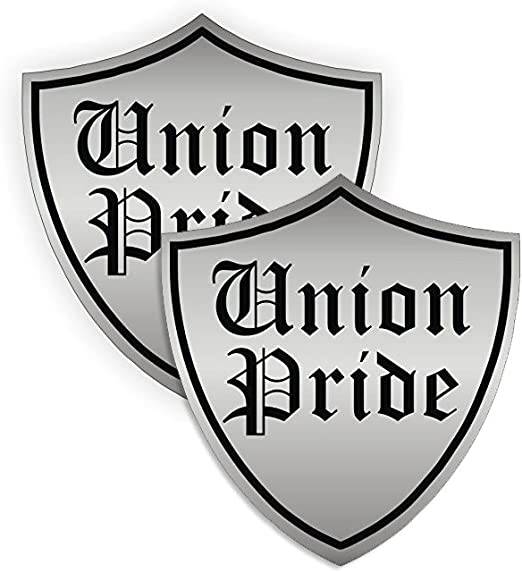 "size: 2/"" color: Silver//Black HardHat Sticker 3 Pack Union Pride Shield"