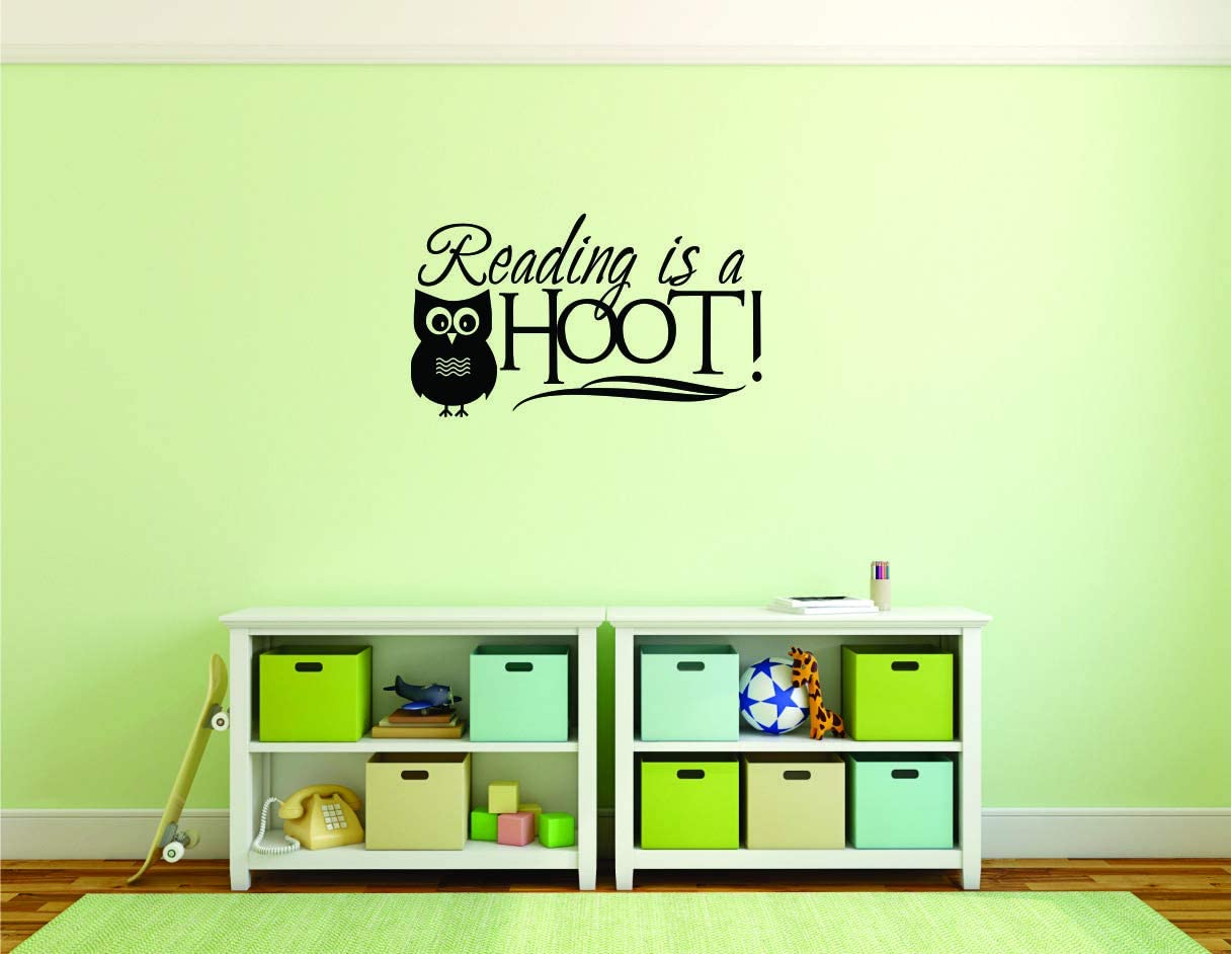 Reading is A Hoot Quote/OWL Owl's Animal Kids Read School Learning : Kids Rooms Books Teachers Learn Wall Sticker : Reading is a Hoot Quotes Home Living Room Reading Corner Decor Size 12X20 Inches