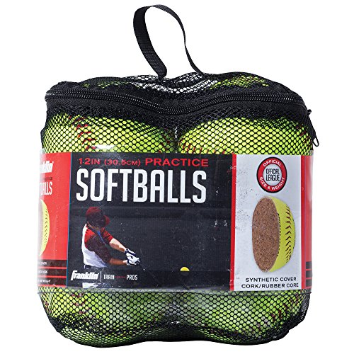 Franklin Sports MLB Official League Synthetic Cork Softball with Mesh Bag (4-Piece), Yellow, (Softball Practice Balls)