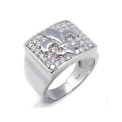 Mens Rings Designer | 16 Mm Wide Men S Ring Designer Fleur De Lis 925 Sterling Silver