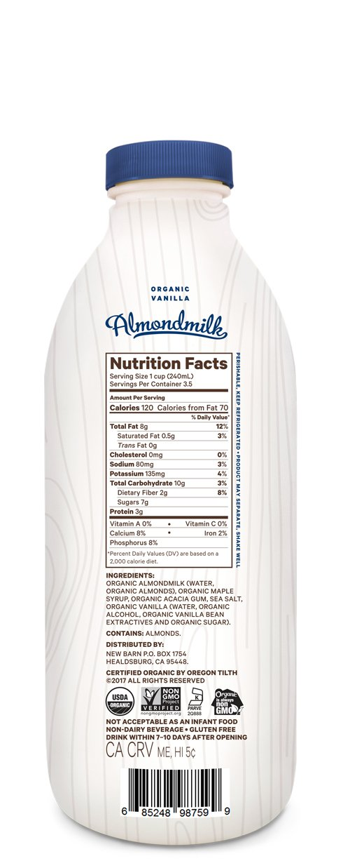 New Barn Organic Almondmilk Vanilla 28 Oz Amazon Grocery Gourmet Food