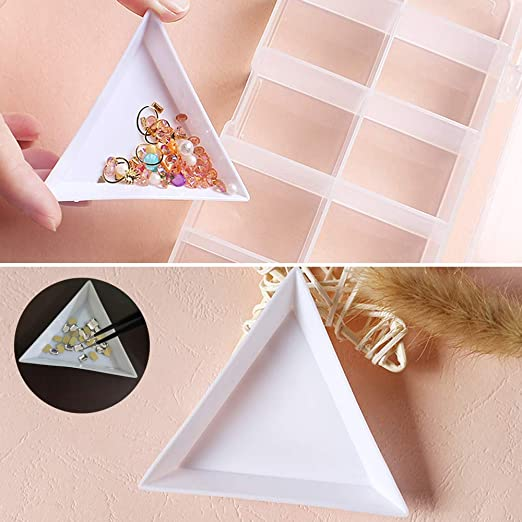 Heatoe 50 Pack Triangle White Plastic Bead Sorting Trays Magical Sequin Rhinestones Tray Triangle Sorting Storage Plates Art Tray for Beads