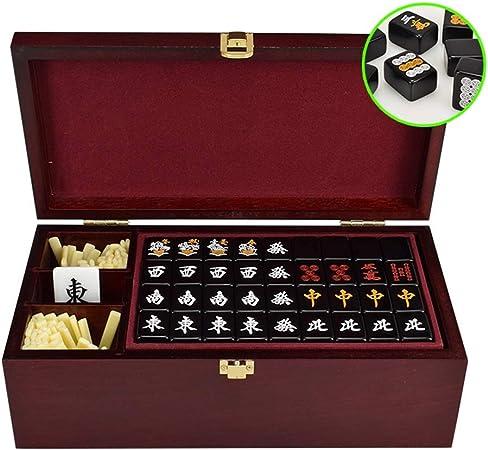 Mah Jong 144 fichas de Mahjong Casa frotando Traje Mahjong Viaje Mahjong con Mahjong Box Juego de Mesa Regalos de Alta Gama Juegos Tradicionales (Color : Black, Size : 28 * 14 * 9cm): Amazon.es: Hogar