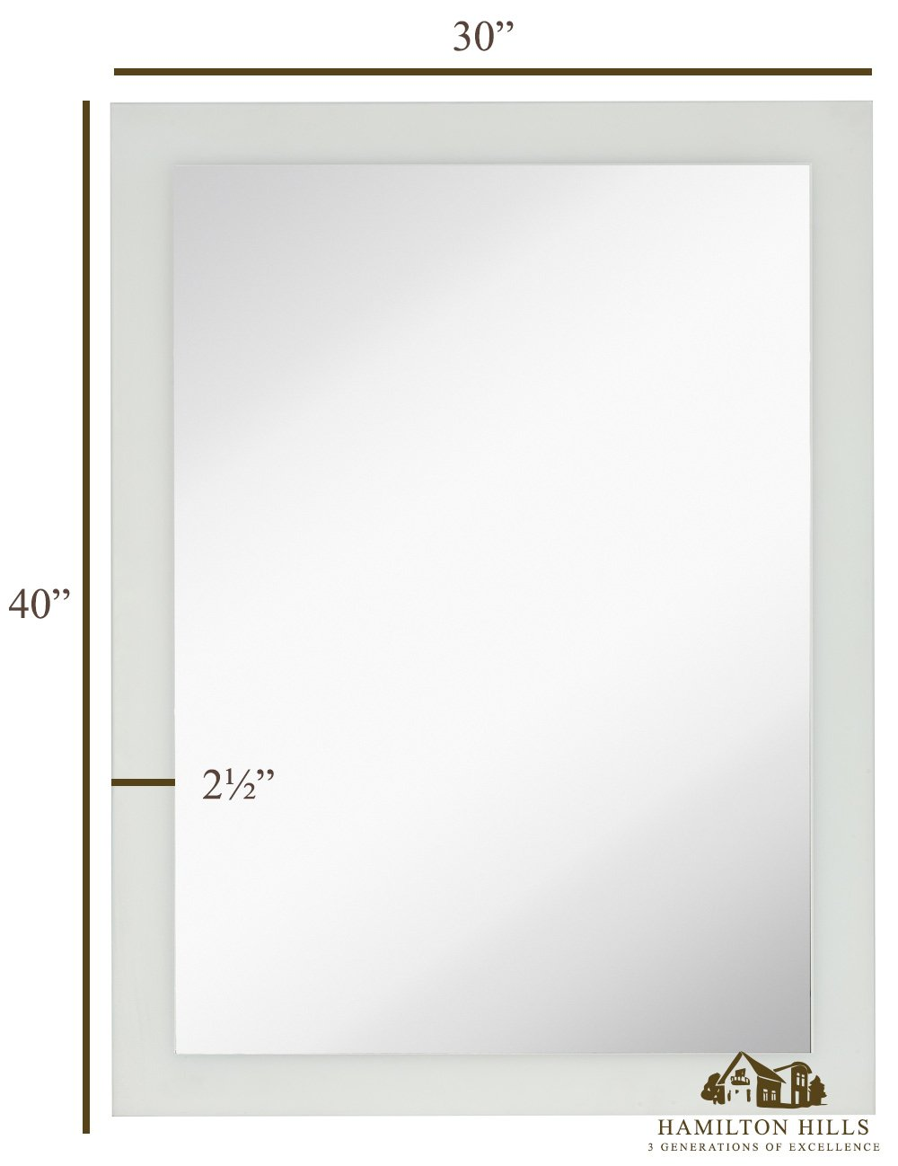 Large Frosted Edge Modern Rectangular Wall Mirror Premium Silver Backed Etched Rectangle Mirrored Glass Panel Vanity, Bedroom, or Bathroom Hangs Horizontal Vertical Frameless 30 W x 40 H