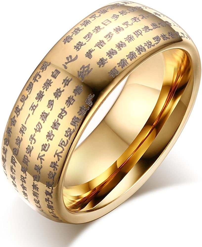 Mealguet Jewelry Genuine Tungsten Carbide Chinese Heart Sutra Engraved Domed Wedding Rings Band