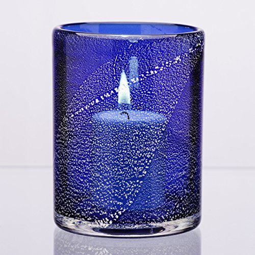 Cobalt Silver Foil (Hand-blown Silver Foil and Glass Candle Holder in Cobalt Blue)