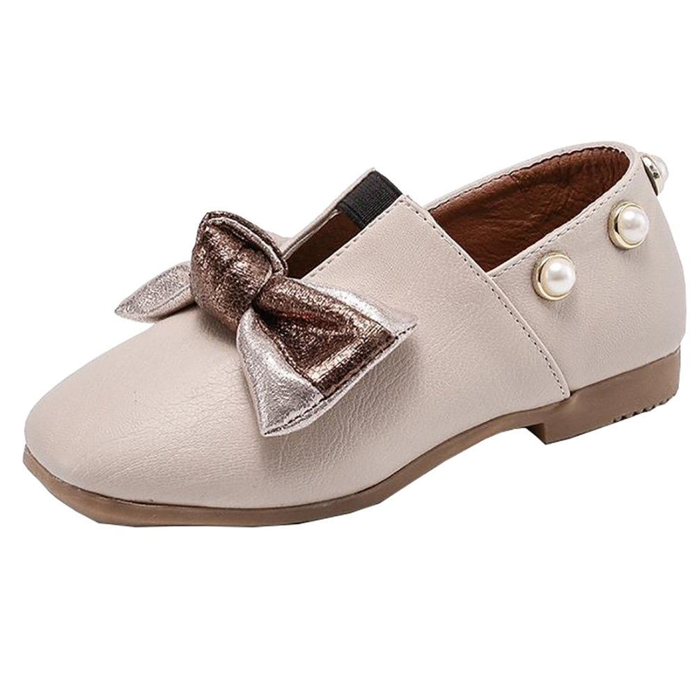 BININBOX Kids Bowknot Girls Dress Shoes Pearl Flat Girls Shoes Princess (10.5 M US Little Kid, Beige)