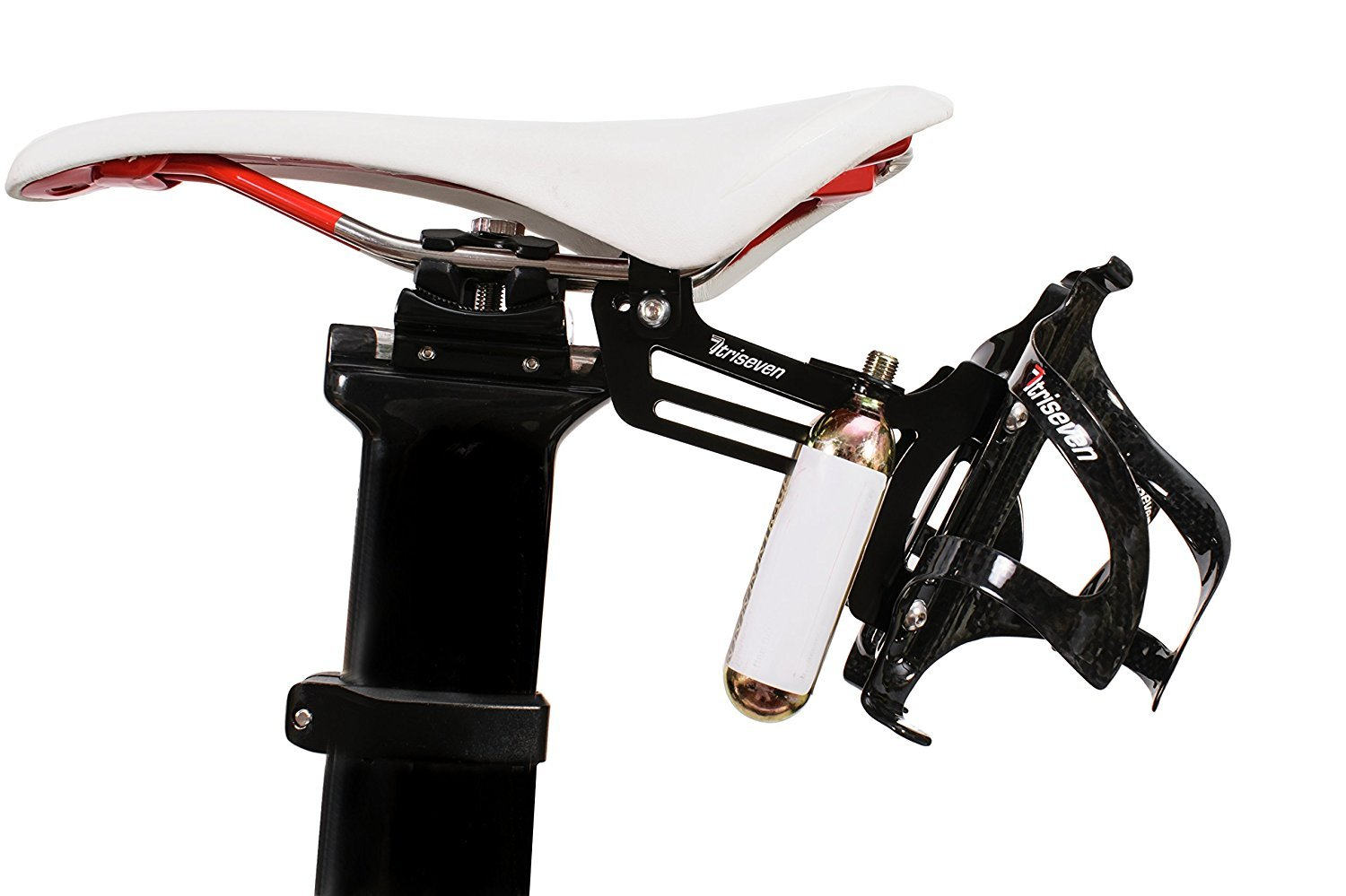 TriSeven Premium Cycling Saddle Cage Holder - Lightweight for Triathlon & MTB, Holds 2 Water Bottles & 2 co2 Cartridges | Does NOT Include Water Cages!